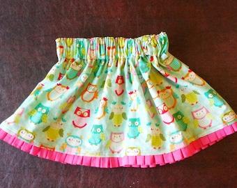 Girls owl skirt, toddler owl skirt, girls bird skirt, toddler bird skirt, girl birthday gift, girl christmas gift, with trim