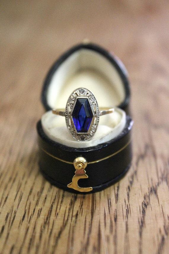 French Art Deco Antique Sapphire Amp Diamond Plaque Ring Gatsby