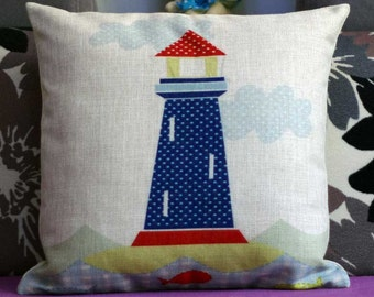 Cartoon style lighthouse pillow,nautical style lighthouse pillow cover