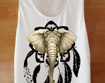 Dream Catcher Elephant Shirt Custom Handmade Screen Print
