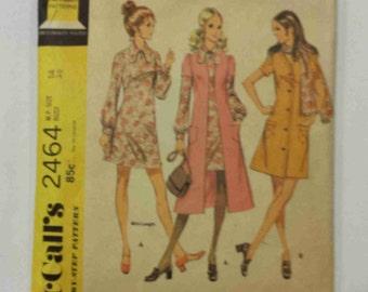 Vintage 70s McCalls 2464 Dress, Coat or Coatdress Pattern Size 14 Bust 36