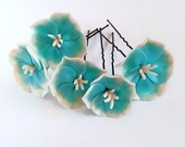 Turquoise Flower Hair Pins, Woodland. Bridal. Weddings. Flower Hair Clip, Hair Accessories, Turquoise wedding, Hair clips flowers Set of
