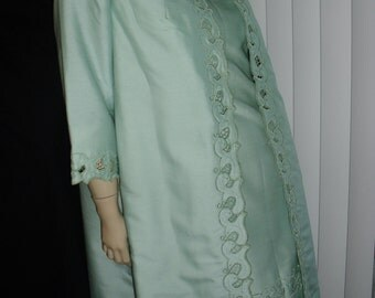 2pc seafoam dress coat set HongKong tailored embroidered @ Vintage 50s 60s 70s Boutique