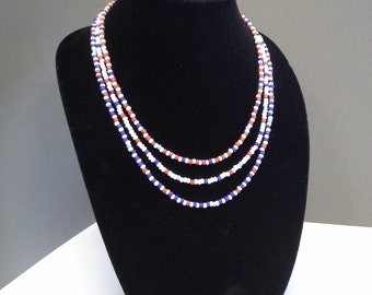 Three strand seed bead necklace