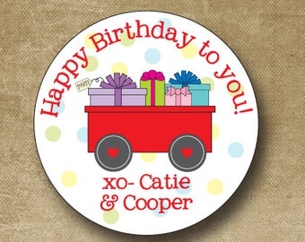 Personalized Gift Stickers Birthday Labels Favor Tags Red Wagon