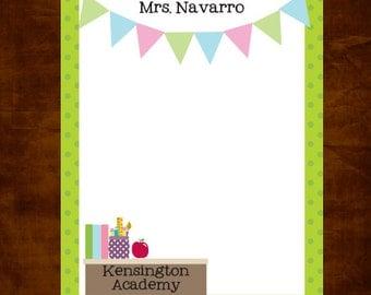 Personalized Teacher Notepad, Teacher Appreciation Gift, Personalized Teacher Pad, Banner Flags Teachers, Teacher Gift, School Stationery