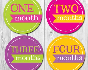Monthly Baby Stickers, Girl Month Stickers, Banner Monthly Stickers, Baby Shower, Photo Props, Bright Colors