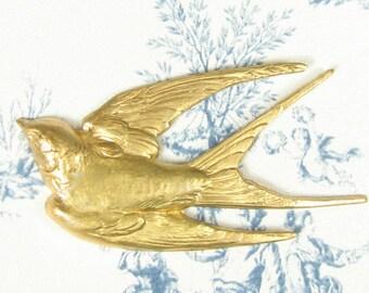 Large Swallow Bird Stamping Pendant Raw Brass 2-119-R