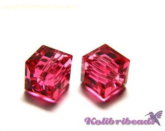 5x Swarovski Cube 6 mm - Indian Pink