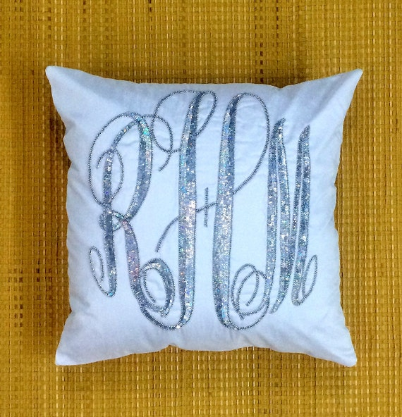 Decorative Monogram Pillow : Monogram Pillow Sequin Decorative Pillow by NeaPillows on Etsy