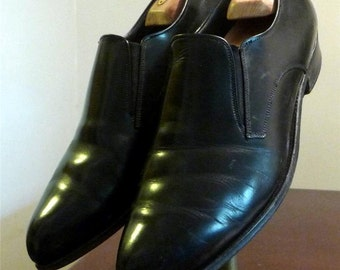 50's/60's Pointy Vintage Black Leather Flex-Teez Slip-On Loafers 11.5EE
