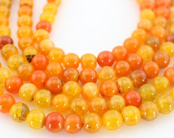 Orange agate Beads,Round Agate Beads, Agate Beads ,Gemstone Beads---About 47 Pieces---15inches---8mm---M004