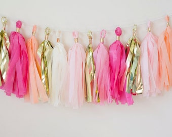 Blushing Peach Tassel Garland (15)