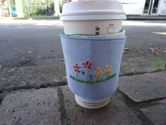 Coffee Sleeve - Hand Embroidered Spring Flowers