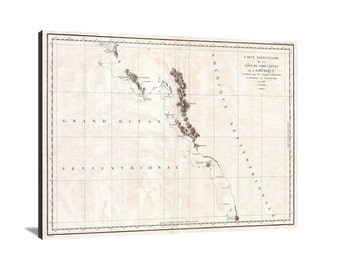 1786 La Perouse Map of Vancouver and BC Large Vintage Map Matte Print