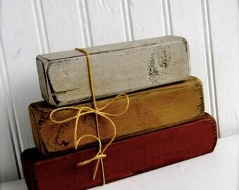 Set of 3 Primitive Wood Candy Corns Fall Wood Blocks Fall Decoration Harvest Wood Primitive Wood Decor