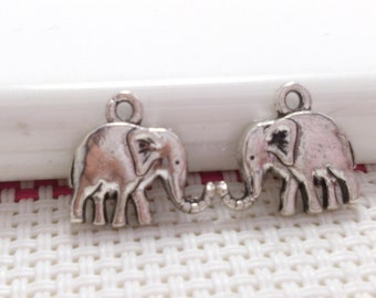 30 Double Sided  Tibetan  Elephant Charms Elephant Pendant Antiqued Silver Tone