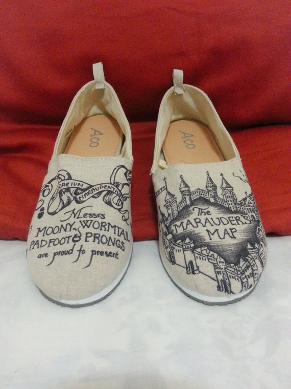 Beige Toms Style Marauder's Map Harry Potter Shoes