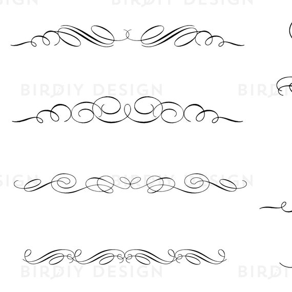 Vintage clipart scrolls and flourishes calligraphy