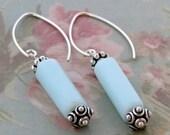 Opal Earrings sky blue with silverbeads caps and modern ear wires/opal/peruvian opal/sky blue/gemstone/blue gemstone/silver earrings