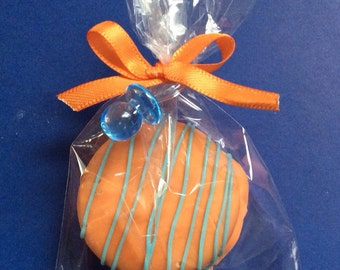 Orange and Blue Party Favors Chocolate Covered Oreos Favors Baby Shower Favors Baby Boy Shower Favors Orange Party a Favors