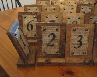 12 Rustic Wood and Burlap Table Numbers