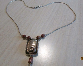 Goldstone and Sterling Silver Necklace