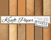 Kraft Digital Paper - 12 Designs, Natural Shades of Brown - Commercial Use - 12x12in - 300 dpi Jpg - Instant Download