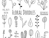 Doodle Flowers Clipart and Vectors - Hand Drawn Flower and Leaf Doodles / Sketch - Nature / Foliage / Botanical Drawings - Commercial Use