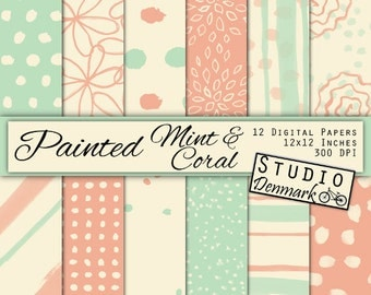 Watercolor Mint and Coral Digital Paper - 12 Pack Digital Scrapbook Papers - Commercial Use Stripes / Dots / Flower - Instant Download