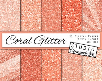 Coral Glitter Digital Paper - Pink Sparkle Chunky Glitter Chevron - Coral Metallic Shine - 10 Papers - 12in x 12in - Instant Download