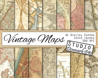 Vintage Maps Digital Paper - 14 Antique Sepia Maps - Aged and Distressed Atlas Pages - Commercial Use - Instant Download
