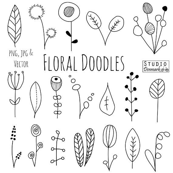 Doodle Flowers Clipart And Vectors Hand Drawn Flower