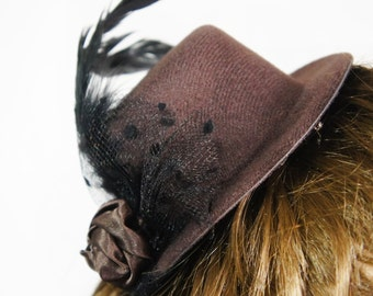 Steam Punk Brown Mini Top Hat w/ Black Feathers, Blooming Flower Rose and Polka Dot Mesh Veil/ Bird Cage Accents, Floral Hair Clip Facinator