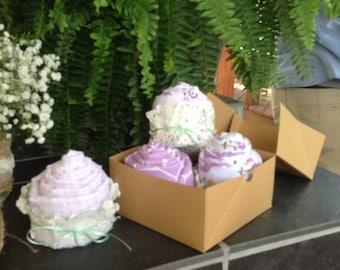 Cupcake Swaddling Blankets (set of 4) purple