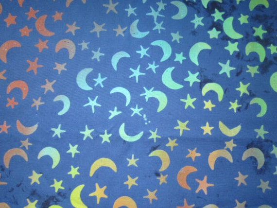 Rainbow moon stars batik fabric navy blue and other colors for Moon and stars fabric