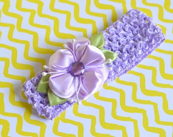 Beautiful Purple Floral Headband with Kanzashi Flower