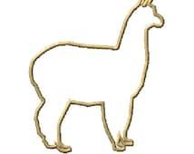 Alpaca Silhouette Outline Machine Embroidery Design 2 Sizes