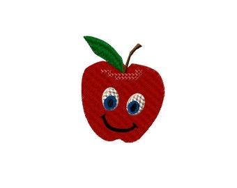 Apple Happy Face Machine Embroidery Design