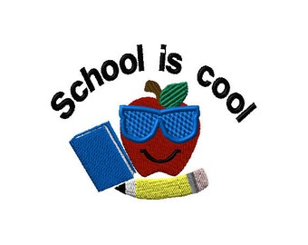 School is Cool Apple Book Pencil Machine Embroidery Design 2 sizes