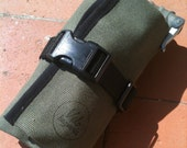 Waxed canvas bicycle tool roll, saddle bag, accessory and tool pouch, Green.