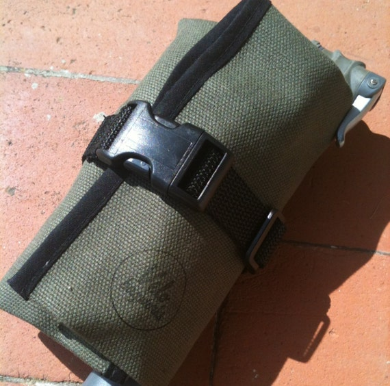 Bicycle Tool Bag : Waxed canvas bicycle tool roll saddle bag accessory and