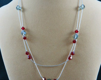 Sterling silver beading chain double strand necklace with Swarovski Crystals