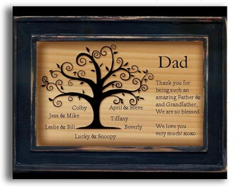 Personalized Family Plaque, Fathers Day, Personalized Family Tree , Monogrammed gifts, Gifts for Dad, Personalized Grandchildren
