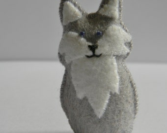 felt grey wolf minature