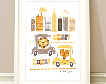 Nursery art, animals print, transport art, baby girls room, baby boys, transport print, kids room art, nursery decor, baby girl nursery
