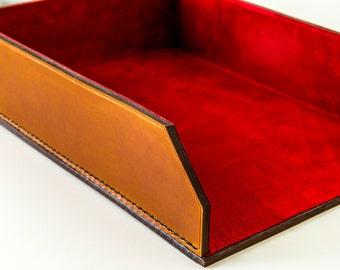 Document Tray - Bridle Leather, Saddle Stitched