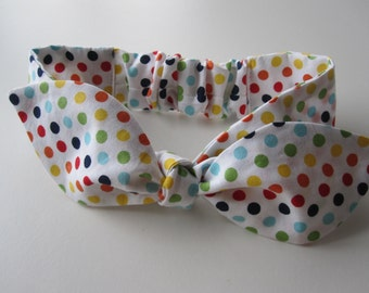 Baby headband, infant headband, Rainbow polka dot