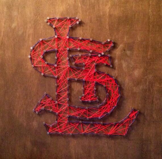 handmade 24x24 st louis cardinals string art wall art. Black Bedroom Furniture Sets. Home Design Ideas