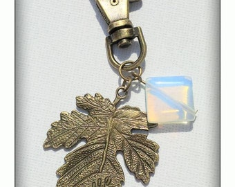 Opalite and leaf bagcharm/keyring